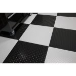 "G-Floor 95 mil RaceDay Tile, 24"" Diamond Tread Peel and Stick, Absolute White-Pack of 10 (T95DT24AW10P3)"