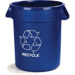 Carlisle Bronco 32 Gallon Round Recycle Cans, Blue, 4 Cans (341032REC14)