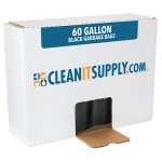 CLEANIT 60 Gallon Black Garbage Bags, 38x58, 1.2mil, 100 Bags (CIS519)