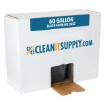 CLEANIT 60 Gallon Black Garbage Bags, 38x58, 1.6mil, 100 Bags (CIS523)