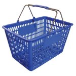 Omcan Blue Plastic-Steel Shopping Basket, 50 Lbs. Capacity, Each (13023)