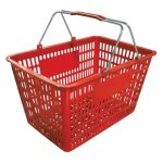 Omcan Red Plastic-Steel Shopping Basket, 50 Lbs. Capacity, Each (13025)