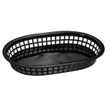 "Omcan Products 10"" X 7"" Plastic Oval Platter, Black, Each (80355)"