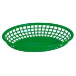 "Omcan Products 9"" X 5"" Plastic Oval Basket, Green, Each (80359)"
