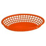 "Omcan Products 9"" X 5"" Plastic Oval Basket, Red, Each (80360)"