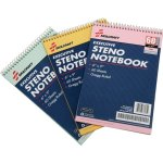 "SKILCRAFT Steno Notebooks, 60 Pages, Gregg Style, 6""x9"", 3/PK, AST (NSN4545702)"