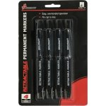 SKILCRAFT Retractable Permanent Marker, Chisel Tip, 4/PK, Black (NSN5550297)