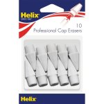 Helix Pencil Cap Erasers, Oversized, White, 10 Erasers (HLX37360)