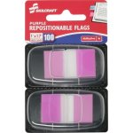 "SKILCRAFT Self Stick Flags, Repositionable,100/PK,1""x1-3/4"",Purple (NSN3158654)"