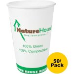 Naturehouse Compostable Paper/PLA Cup, 16 oz, White, 50/Pack (SVAC016)