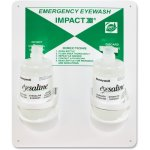 Impact Emergency Eye Wash Station, White/Green, 2 Solution Bottles  (IMP7349)