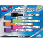 SRX Magnetic Dry-Erase Markers, Fine Point, Assorted, 6 Markers (BDUDDM77)