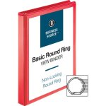 "Business Source View Binder, Round Ring, 1"", Red, 1 Each (BSN09966)"