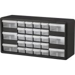 Akro-Mils Stackable Cabinet, 26 Drawers, Finger Grip, Black, 1 Each (AKM10126)