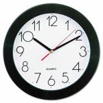 universal-round-battery-wall-clock-9-3-4in-black-each-unv10421
