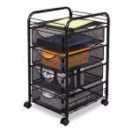 Safco Onyx Mesh Mobile File w/Four Supply Drawers, Black (SAF5214BL)