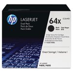 HP 64X, 2-pack High Yield Black Original LaserJet Toner Cartridges (HEWCC364XD)