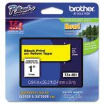 Brother Adhesive Laminated Labeling Tape, 1w, Black on Yellow (BRTTZE651)