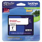 Brother P-touch Adhesive Laminated Labeling Tape, 1w, Red on White (BRTTZE252)