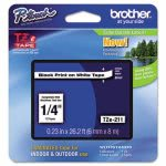 "Brother P-touch TZe Adhesive Labeling Tape, 1/4"" Black on White (BRTTZE211)"