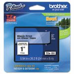 Brother P-touch Adhesive Laminated Labeling Tape, 1w, Black on Clear (BRTTZE151)
