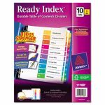 Avery Ready Index Contents Divider, 1-10, Multicolor, Letter, 6 Sets (AVE11188)