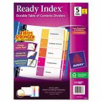 Avery Ready Index Contents Divider, 1-5, Multicolor, Letter, 6 Sets (AVE11187)