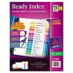 Avery Ready Index Contents Divider, 1-15, Multicolor, Letter, 6 Sets (AVE11197)