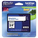 Brother P-touch TZe Standard Laminated Labeling Tape, Blue on White (BRTTZE243)