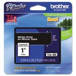 Brother P-touch Adhesive Laminated Labeling Tape, White on Black (BRTTZE355)