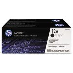 HP 12A, (Q2612D) 2-pack Black Original LaserJet Toner Cartridges (HEWQ2612D)