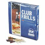 "Royal Club Cellophane-Frill Wood Picks, 4"", Assorted, 1000/Ctn (RPPR812W)"