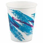 Solo Jazz 10-oz. Paper Hot Cups, White/Green/Purple, 1,000 Cups (SCC 370JZJ)