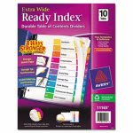 Avery Extra-Wide Ready Index Dividers, 9 1/2 x 11, Assorted, 10 Tabs (AVE11165)