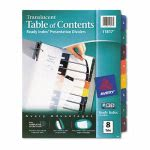 Avery Ready Index Table/Contents Dividers, 8-Tab, Assorted, 8/Set (AVE11817)