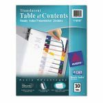 Avery Ready Index Table/Contents Dividers, 10-Tab, Assorted, 1 Set (AVE11818)