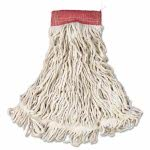 "Rubbermaid Web Foot Wet Mops, White, Large, 5"" Red Headband, 6 Mops (RCPA153WHI)"