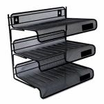 Universal Mesh Three-Tier Desk Shelf, Letter, Black (UNV20006)