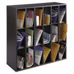 safco-wood-mail-sorter-with-adjustable-dividers-stackable-18-compartments-black-saf7765bl