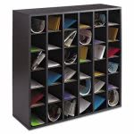 safco-wood-mail-sorter-with-adjustable-dividers-stackable-36-compartments-black-saf7766bl