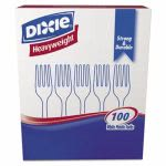 Dixie Heavyweight Plastic Cutlerty,  Forks, White, 100 Forks (DXEFH207)