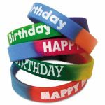Happy Birthday Bracelet Wristbands, Assorted Colors, 10 Pack (TCR6571)