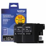 Brother LC-107BK, Super High-Yield Ink, 1,200 Yield, 2 per Pack (BRTLC1072PKS)