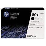 HP 80X 2-pack High Yield Black Original LaserJet Toner Cartridges (HEWCF280XD)