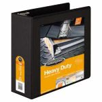 "Wilson Jones Heavy-Duty D-Ring Vinyl View Binder, 4"" Capacity, Black (WLJ38554B)"