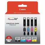 Canon 6513B004 (CLI-251) Ink, Black, Cyan, Magenta, Yellow, 4/Pack (CNM6513B004)