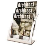 deflect-o-three-tier-magazine-holder-11-14w-x-6-1516d-x-13-516h-silver-def693745