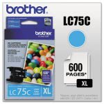 Brother LC75C (LC-75C) High-Yield Ink, 600 Page-Yield, Cyan (BRTLC75C)