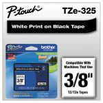 Brother P-touch TZe Standard Laminated Labeling Tape, White on Black (BRTTZE325)