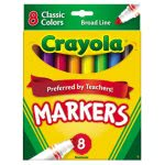 Crayola Non-Washable Markers, Broad Point, Classic Colors, 8/Set (CYO587708)